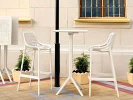 2 Air Bar Chairs and Sky Bar Table Set in White