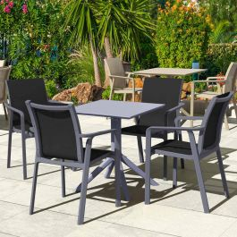 4 Pacific Grey Chairs and Sky 60 Grey Folding Table Set