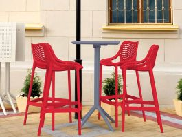 4 Red Air Bar Chairs and Grey Sky Bar Table Set