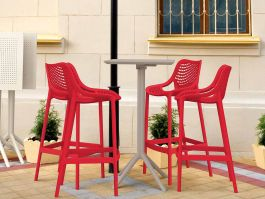 4 Red Air Bar Chairs and Taupe Sky Bar Table Set