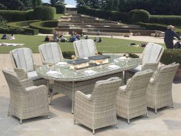 Hamilton 8 Seat Oval Set with Firepit - Grey - Complete