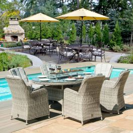 Hamilton 6 Seat Oval Set with Firepit - Grey