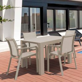 4 Pacific Chairs and Vegas Table Set in Taupe