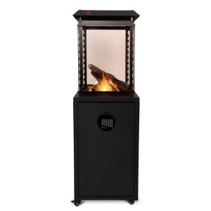 Denver Glass Flame Patio Heater with Lava Rocks and Logs