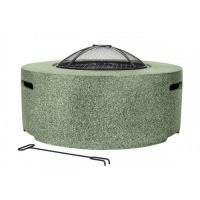 Cylinder Fire Pit including BBQ Grill in Light Green