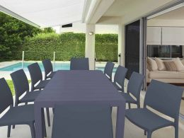 10 Maya Chairs and Vegas XL Table Set in Grey