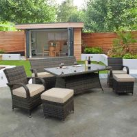 Cairo Chocolate Sofa Dining Set with Table and Footstools