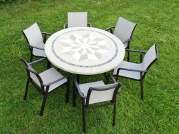 Dalkey table with 6 Brown Pacific Chairs