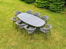 Galaxy 8 Seat Oval Set with Elements Chairs  - Dark Grey