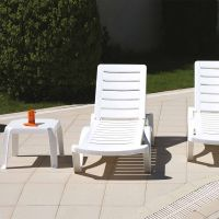 2 Aqua Sun Loungers and Zambak Side Table in White