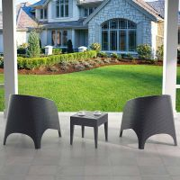 2 Aruba Rattan Chairs with Miami Side Table in Grey