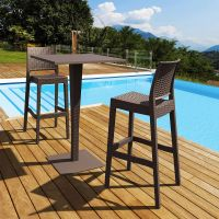 2 Jamaica Bar Chairs and Riva Bar Table Set in Brown