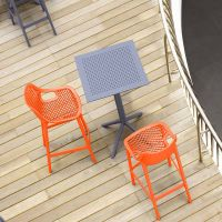 2 Orange Air Bar Chairs and Grey Sky Bar Table Set