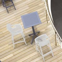 2 White Air Bar Chairs and Grey Sky Bar Table Set