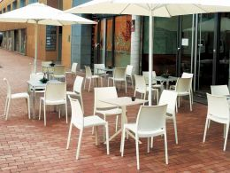 4 Maya Chairs and Sky 60 Folding Table Set in White