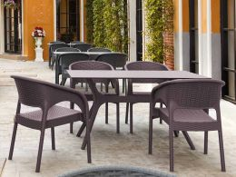 4 Panama Chairs and Ibiza 140cm Table Set in Brown