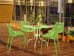 4 Air Chairs and Forza Table Set in Green