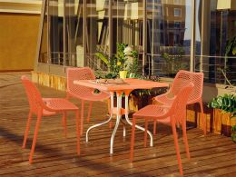 4 Air Chairs and Forza Table Set in Orange