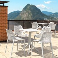 4 Air Chairs and Sky 60 Folding Table Set in White