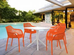 4 Air XL Orange Chairs and Sky 80 White Table Set
