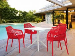 4 Air XL Red Chairs and Sky 80 White Table Set