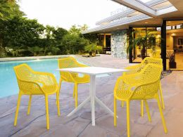 4 Air XL Yellow Chairs and Sky 80 White Table Set
