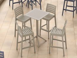 4 Ares Bar Stools and Sky Bar 60 Folding Table Set in Taupe