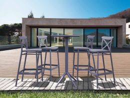 4 Cross Bar Chairs and Sky Bar Table Set in Grey