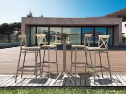 4 Cross Bar Chairs and Sky Bar Table Set in Taupe