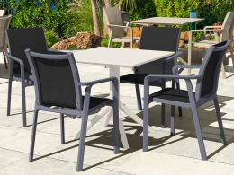 4 Grey Pacific Chairs and White Sky 80 Table Set