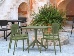 4 Loft Chairs and Sky 80 Table Set in Olive Green