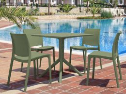 4 Maya Chairs and Sky 80 Table Set in Olive Green
