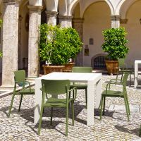4 Olive Green Loft Chairs with White Vegas 4-6 Rectangular Table