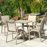4 Pacific Chairs and Sky 60 Folding Set in Taupe
