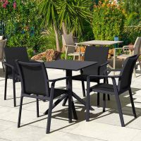 4 Pacific Chairs and Sky 60 Folding Table Set in Black
