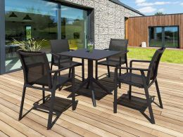 4 Pacific Chairs and Sky 80 Table Set in Black