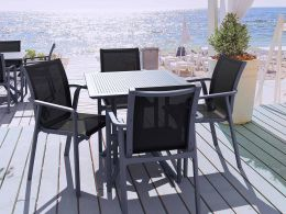 4 Pacific Chairs and Sky 80 Table Set in Grey