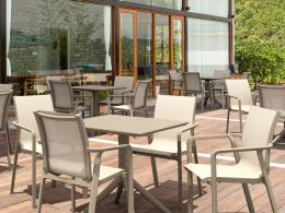 4 Pacific Chairs and Sky 80 Table Set in Taupe