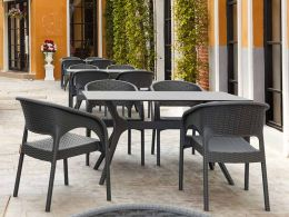 4 Panama Chairs and Ibiza 140cm Table Set in Grey