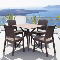 Ibiza 4 Seat Outdoor Contract Dining Set with Stackable Chairs