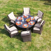 Cairo 6 Seat Round Table with Cairo Chairs with Quick Dry Cushions
