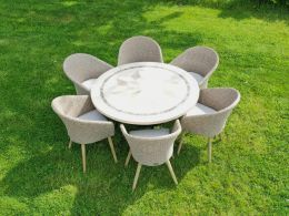 6 Sunburst Chairs and Dalkey 135cm Table