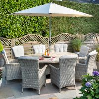 Heritage Elliptical Ceramic 8 Seat Set in Beech with Parasol and Base
