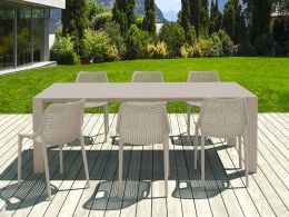 6 Air Chairs and Vegas Medium Set in Taupe