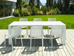 6 Air Chairs and Vegas Medium Set in White