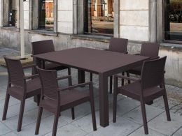 6 Ibiza Chairs and Vegas Medium Dining Set in Brown