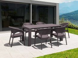 6 Panama Chairs and Vegas Medium Table Set in Brown