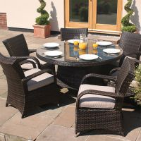 6 Seater Brown Rattan Cairo Round Table Garden Furniture Set
