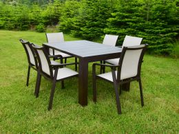 Vegas 6 Seater Set With Pacific Chairs In Brown