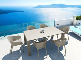 Vegas Medium 6 Seat Set with  Sky Chairs Set in Taupe